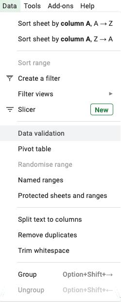 Google dividend spreadsheet data validation